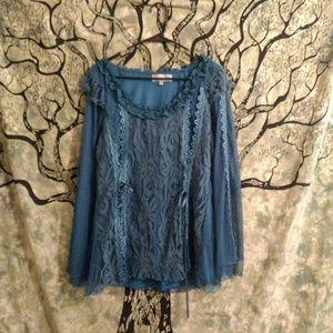 XL Pretty Angel Lace Silk Romantic Gypsy Top